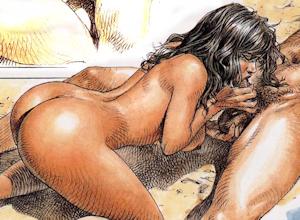 Photo bande dessinée : la scène montre une femme faisant une fellation à un libertin à l'occasion d'une partouze privée