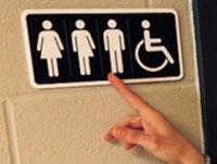 Une plaque signalant l'accès aux 3 genres sexuels pour illustrer le contenu : Trans Paris Escort Trav du site LOveSita.