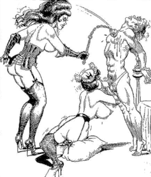 Illustration bande dessinée : deux maîtresses de domination s'occupent d'un mâle soumis, une le suce et l'autre le fouette